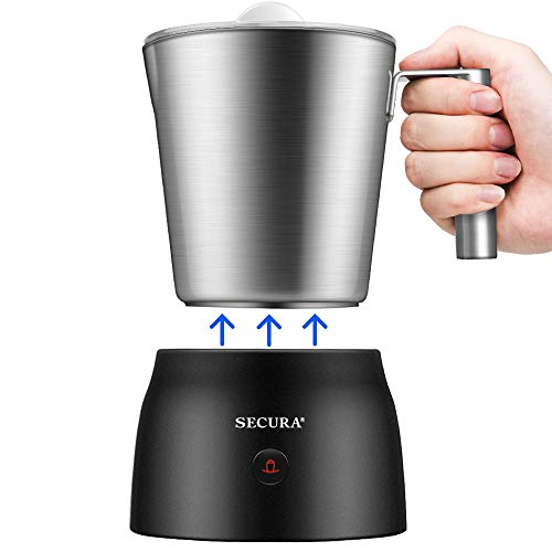 Secura 4 in 1 Electric Automatic Milk Frother and Hot Chocolate Maker Machine 17oz/500ml Foam Stainless Steel Dishwasher Safe Cordless Detachable Milk Jug