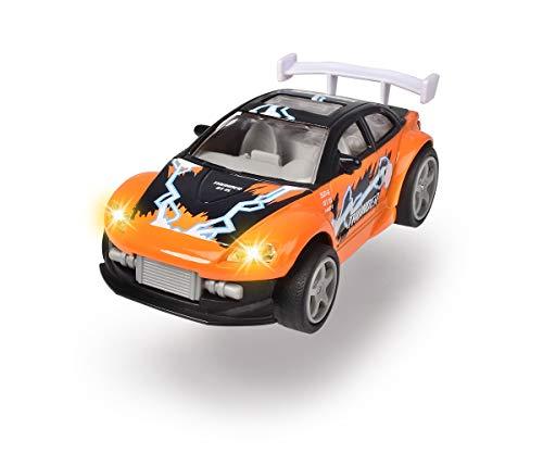 Dickie Toys Midnight Racer, Spielzeugauto, Rückzugmotor, Rennauto, Licht & Musik, inkl. Batterien, 2 verschiedene Farben, grün/schwarz oder orange/blau, 11,5 cm, ab 3 Jahren