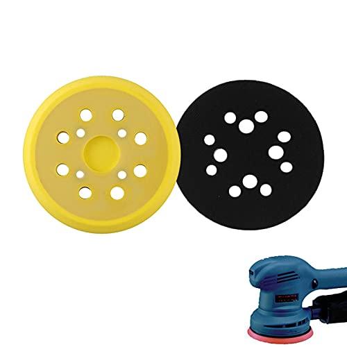 1pieza 125mm plato de lija para amoladora,PU Plato de soporte para discos abrasivos,Almohadillas de Lija Orbital Almohadilla con 8 Agujeros, accesorio de lijadora excéntrica(Amarillo)