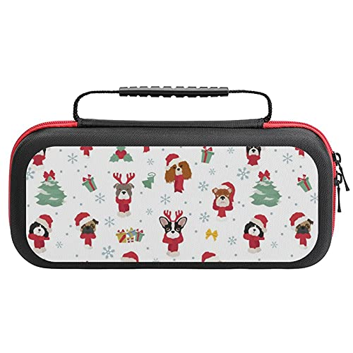 Dog Portraits in Santa Hats Travel Carrying Case Tote Bag For Nintendo Switch Accessories Holds 20 Game Card Bag