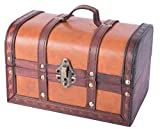 Decorative Gifts Small Wood and Leather Decorative Chest