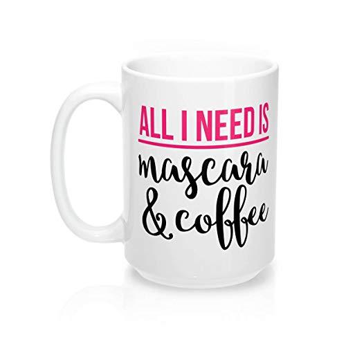 Sp567encer Alles wat ik nodig hebt, is mascara en koffie koffiemok Younique make-up beker Cosmetologist beker Cosmetology beker mooi roze Etsy geschenk voor hem