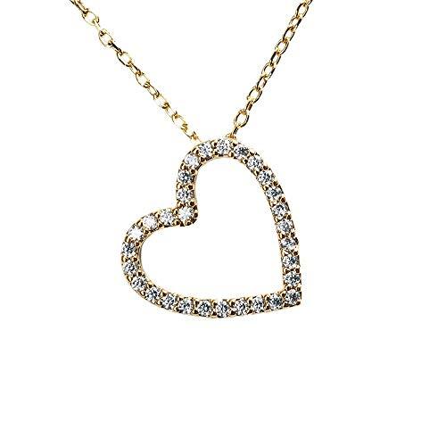 LuckyLy – Collar Corazón con Zirconias Bella – Collares Mujer Oro 14k – Cadena Baño de Oro 14k – Dije Corazón con Zirconia Cúbica – Regalo para Mujer, Regalos Novia