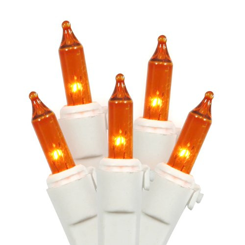 Vickerman 100 Lights Amber White Wire End Connecting Lock Set with 4-Inch Spacing and 33-Feet Length, Holiday Lights