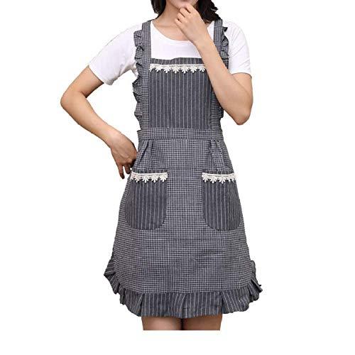 LYDCX Schürzen Sie Die Küche, Die Das Europäische Restaurantbauch-Schutzblechoverallgrau Weiblicher Prinzessin Gekocht