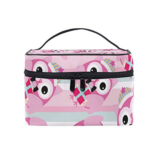 Rose Cartoon Owl Pattern Cosmetic Bag Toiletry Travel Makeup Case Handle Pouch Multi-Function Organizer for Women
