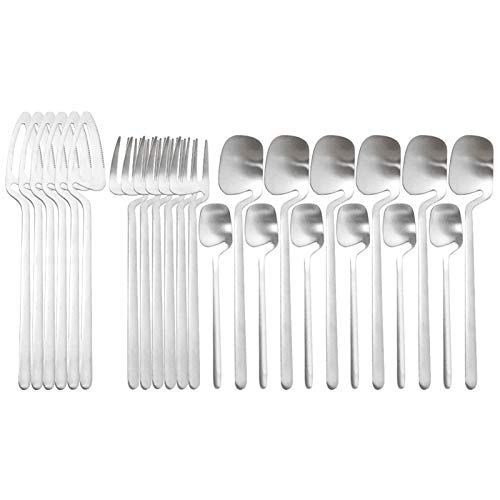 24 PCS Conjunto de cubiertos negros Set de vajilla de acero inoxidable Conjunto de cuchillos Forks Coffee Spoons Vajilla Conjunto Sistema de cubiertos occidentales Set juego de cubiertos juego de cubi