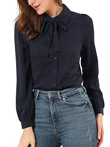 Allegra K Damen Langarm Bubikragen Schleife Shirt Bluse Navy Blau XL