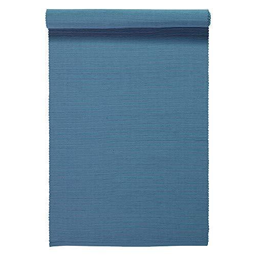 Linum Uni Dekoratives Tischläufer für Esstisch 45cm x 150cm, 100% Gerippte Baumwolle, Maschinenwaschbar, Tiefseeblau