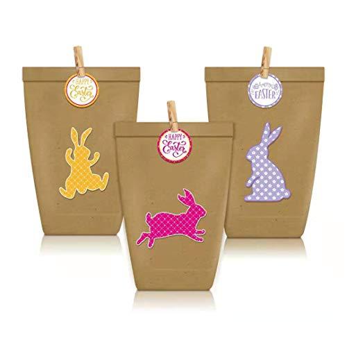 Chang 12 bolsas de papel para manualidades, diseño de dragón de Pascua, creativas nido de Pascua con 12 bolsas de papel y pegatinas de conejos de Pascua