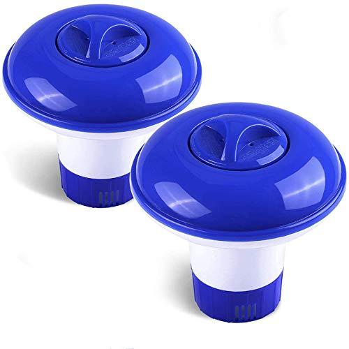 Emooqi Dispensador Cloro Flotante, 2 Pack Dispensador de Químicos Ajustable Flotador De Cloro para Piscina, Parque Acuático, SPA
