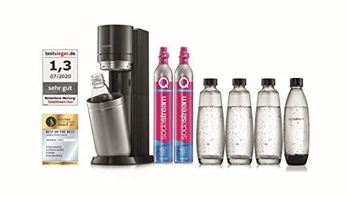 SodaStream Wassersprudler Duo Mega-Set mit 2X CO2-Zylinder, 3X 1L Glasflasche und 2X 1L spülmaschinenfeste Kunststoff-Flasche, Höhe: 44cm, Farbe: Titan