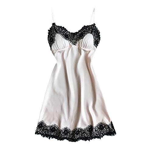 HULKY Vendita di Liquidazione Pizzo Cinturino Pigiama Camicia per le Donne Sexy Lingerie Satin Robe Abito da Notte Babydoll(Beige,small)