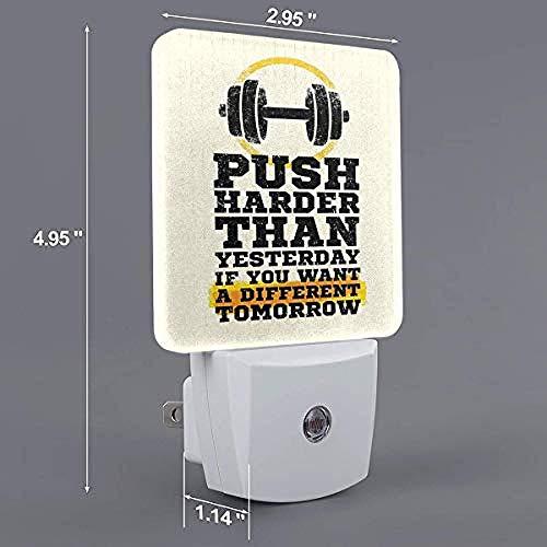 Fitness Push Harder Sport Auto On/Off LED-nachtlampje US_White