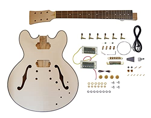 Leo Jaymz DIY Hollow Body Electric Guitar Kit with Basswood Body and Maple Neck -...