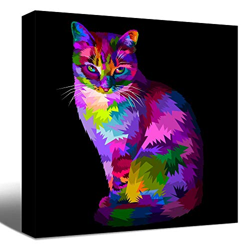 SENEW Animal Canvas Wall Art for Bedroom, Living Room, Office, Colorful Cat Framed Canvas Art for Home Decor,12