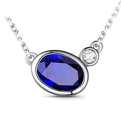 AYDOME Necklace Wedding, 0.95ct Sapphire Oval Diamond 18K White Gold Blue Women