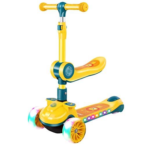 Patinete Scooter de Niños Pequeños para Niños para Niños de 1 A 12 Años Niñas con Asiento Extraíble Magro para Dirigir La Altura Ajustable (Color : Pink)