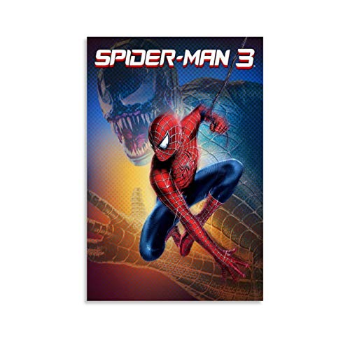 Ghychk Póster decorativo de Spider-Man – cómics, diseño de superhéroe, moderno, estirado y obra de arte para sala de estar, dormitorio, listo para colgar, 20 x 30 cm