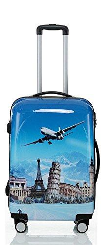 Reise Koffer Trolley mit Polycarbonat ABS Hartschale und Motiv BB (3: 70 Liter - Gr. L, Flugreise)