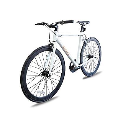 Caraci Fixed Gear Bike Fixer Bike Road Bike Alumium Alloy Urban Bike Flip Flop Hub City Bike Riser Bar 700c 54cm Single Speed (White)