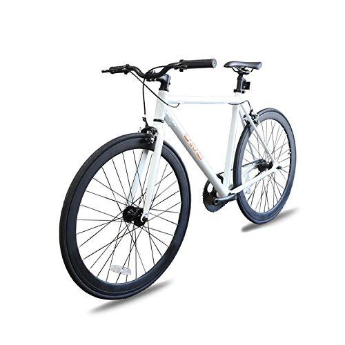Fixer Bike Road Bike Fixed Gear Alumium Alloy Urban Bike Flip Flop Hub City Bike Riser Bar 700c 54cm(White)