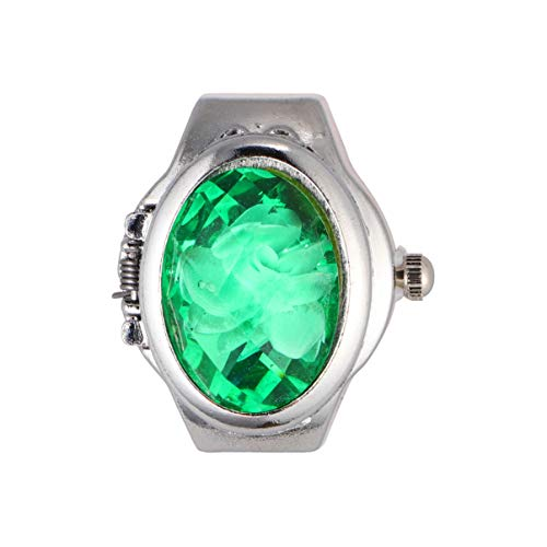NICERIO Männer Frauen Fingeruhr Quarz Fingerring Uhr Ovale Blütenblatt Flip Fingerring Uhr Mode Analoge Uhr Ring