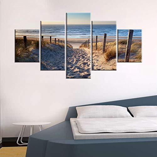 YXBNB 5 aufeinanderfolgende Gemälde Leinwandbilder Wandbilder HD Prints 5 Stück Strandbilder Sanddünen In der Nordsee Poster(Rahmenlos)