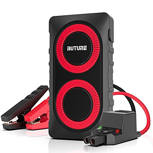 BUTURE Portable Car Jump Starter, 800A 12000mAh Lithium Car Starter for up to 6.0L Gas 5.0L Diesel Engines, Quick-Charge Car Battery Jump Starter with Extended Smart Jumper Cables, Flashlight