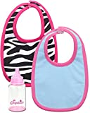 Sophia's Baby Doll Bibs and Bottle Baby Blue Bib, Zebra Print Bib and Milk Bottle with Pink Cap