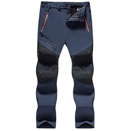 Gaga city Pantalones de Trekking Impermeables Softshell Hombre Invierno Mujer Pantalones de Montaña Transpirable Fleece Lined Pantalon Escalada Senderismo Aire Libre Pantalon Hombre/gris/XL-170/74A