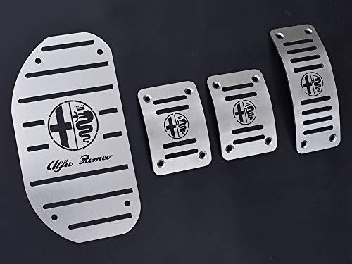 Pedali Con Poggiapiede In Acciaio per Alfa_Romeo 147 & GT (937) - (Cambio Manuale) - 4 Pezzi Ti Design Pedana Pedaliera Poggapiedi Pedaliere Sportiva Gas Copripedale Freno Frizione Tuning