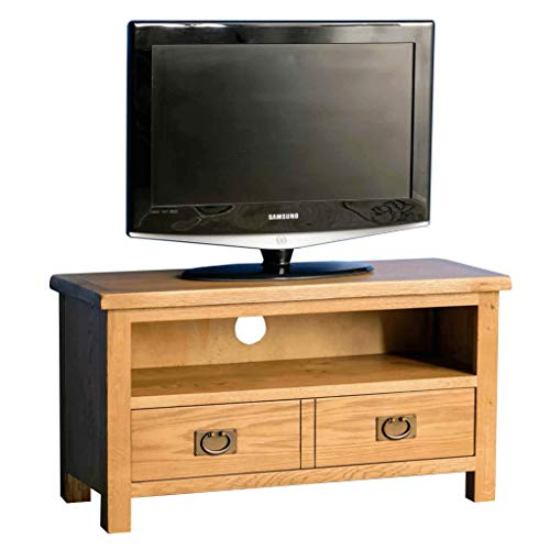 Surrey Oak Small TV Unit | Traditional Rustic Waxed 90 cm Solid Wood Television Cabinet Stand Suitable for TVs up to 40 inches for Living Room or Bedroom, Fully Assembled