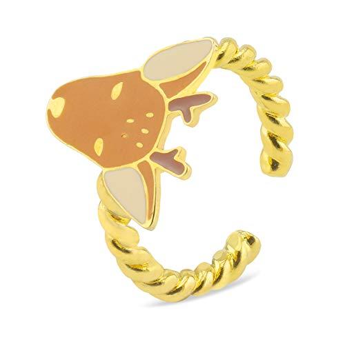 Monkimau 750 oro placcato cervo anello e gioielli per bambini donna ragazza orecchini Bambi regalo e placcato Oro, 52 (16.6), colore: marrone, cod. 8645