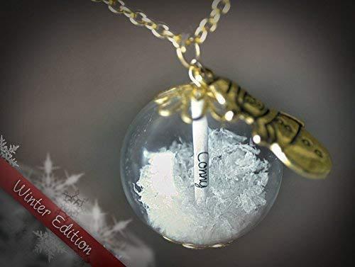Namenskette Gold Glück Kette Geschenk Schneekugel