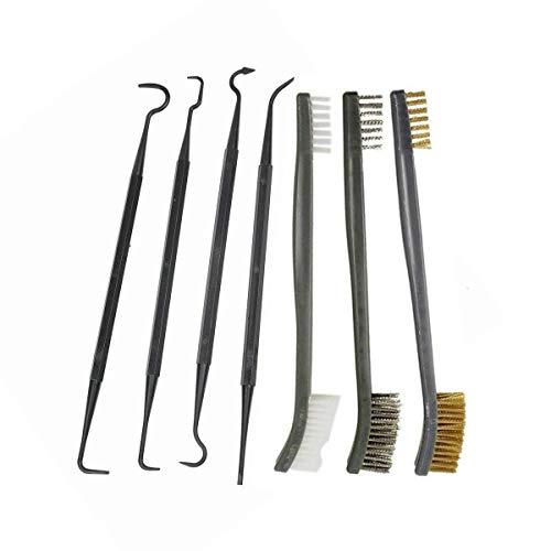 ❀3 doppio punto spazzole: con grandi e piccole estremità per la pulizia di tutti i punti difficili. 7 in della lunghezza ❀5 Double fase pezzi: 4 plettri pulire le aree più ardue in acciaio INOX della tua arma. Il pick-up è perfetto per una facile pul...