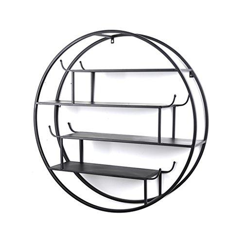 Rétro ronde étagère murale en fer pour Bar/cuisine/salon/chambre à coucher utilisé pour étagère de rangement étagère décorative style industriel Floating Unit Frame, 60/70 / 80CM (taille : 60 cm)