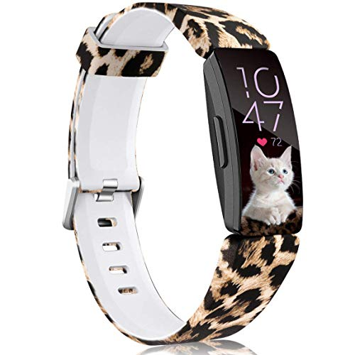 Maledan Bands Compatible with Fitbit Inspire HR/Inspire/Fitbit Inspire 2 and Ace 2, Fadeless Pattern Printed Strap Band Replacement for Inspire 2 and Inspire HR Fitness Tracker, Leopard Small
