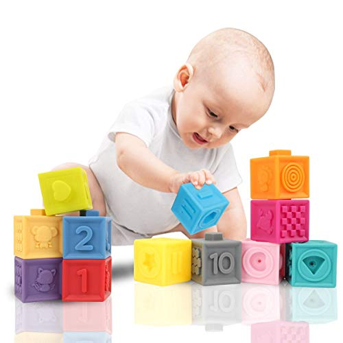 GILOBABY 12PCS Baby Soft Blocks, Stacking Building Blocks Teething Squeeze Math Early Education Toys, Recognition Color Baby Bath Toy with Constellation Pattern, Fruits,Shapes,Number for 6 Months+