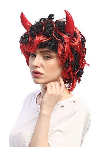WIG ME UP- 4045-P103-13 Peluca Carnaval Halloween Mujer Hombre Diablo Demonio Cuernos Negro Rojo
