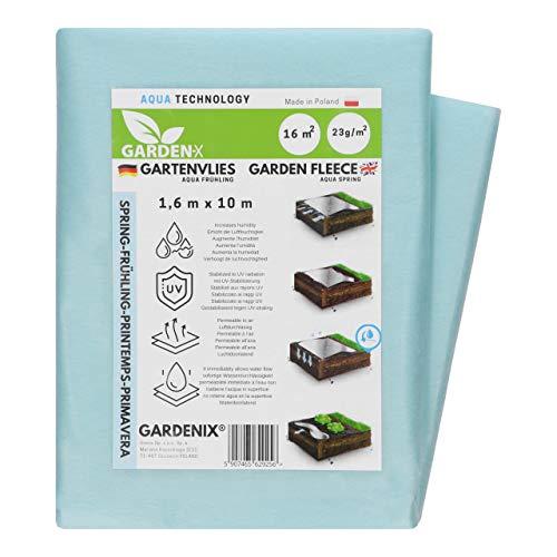 GARDENIX® 16 m² Frühling Gartenvlies Aqua mit sehr hoher Wasserdurchlässigkeit, zur Abdeckung von Gemüsebeeten, UV-Stabilisierung (1,6m x 10m)