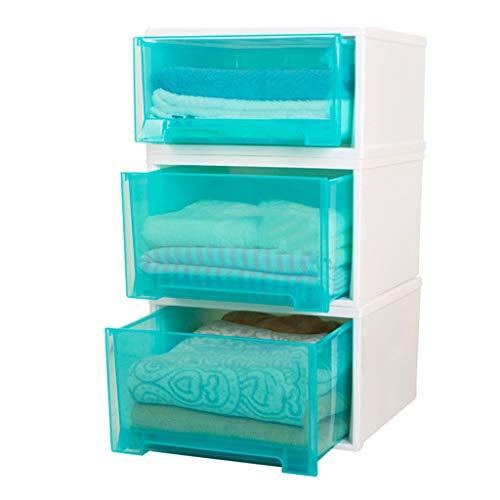 Armoires De Rangement Boîte De Rangement De Rangement pour Tiroir Boîte De Rangement en Plastique À La Mode Multifonctionnelle Transparente pour Vêtements (Color : Blue)