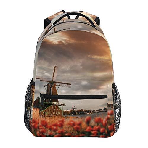 Fantazio Mochila extragrande Hermosa Sunset Dutch Windmill Daypack
