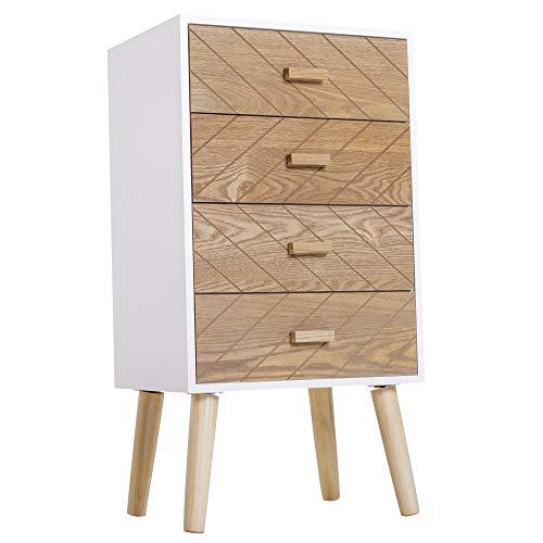 HOMCOM Nachttisch Nachtkommode Flurkommode mit Schubladen Holz weiß + Natur 40 x 30 x 75 cm