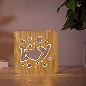 Lampeez I Love You Night Light, Novelty Wooden Decoration Lamp USB Power Light Bedroom Decoration for Boys and Girls