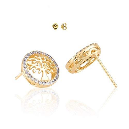 Pendientes redondos con diseño de árbol de la vida, cristal blanco, oro amarillo 750 laminado*