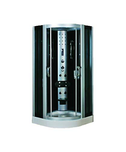Douche hydromassante 100 x 100 x 225 cm avec jacuzzi d'angle et panneau de contrôle pour ordinateur avec radio FM multifonction