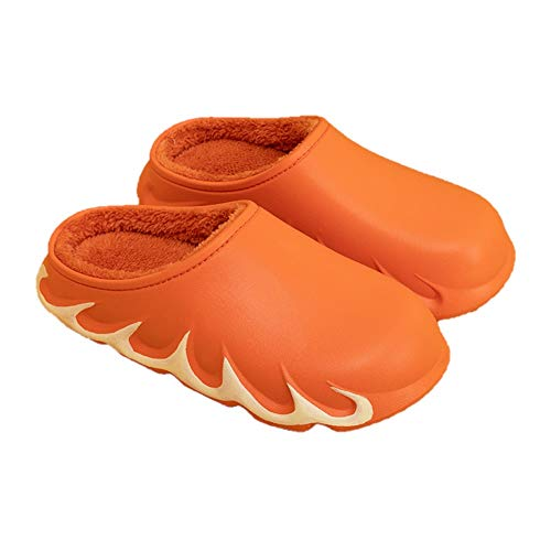 KOOYR Zapatillas impermeables para hombre y mujer, con forro de piel, para invierno, para jardín, cálidas para interiores y exteriores, naranja (Anaranjado), 36.5/37 EU