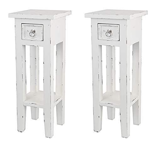 Dynamic24 2X Shabby chic Nachttisch Mahagoni Holz massiv Nachtschrank Konsole Tisch weiß