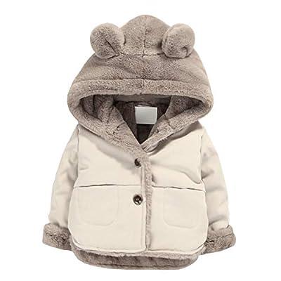 Toddler Fleece Jacket, Warm Cotton Baby Winter Coats, Kids Hooded Outerwear for Boys Girls
